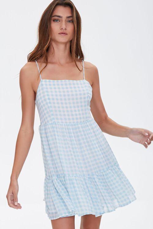 BLUE/CREAM Gingham Mini Dress, image 1