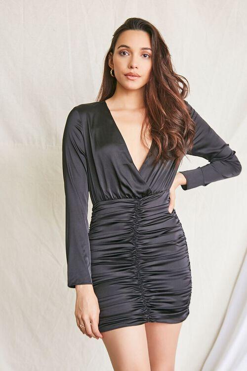 BLACK Satin Ruched Mini Dress, image 1