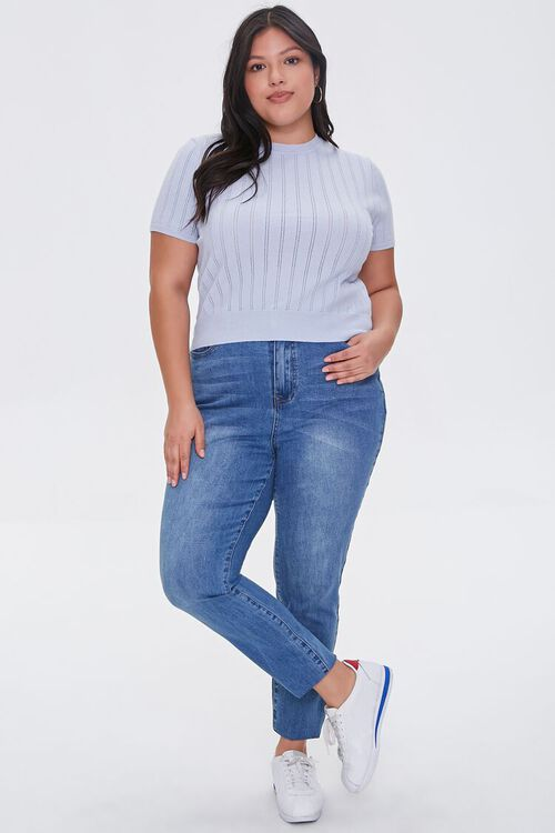 Plus Size Pointelle Sweater-Knit Tee, image 4