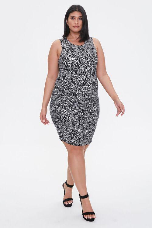 BLACK/TAN Plus Size Cheetah Print Mini Dress, image 4