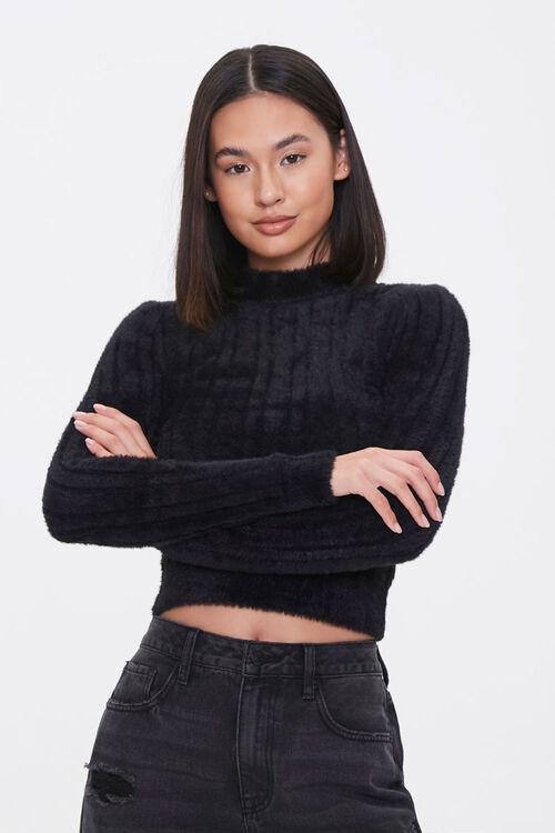 Fuzzy Knit Mock Neck Top, image 1