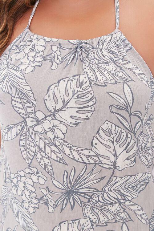 TAUPE/CREAM Plus Size Tropical Print Maxi Dress, image 5