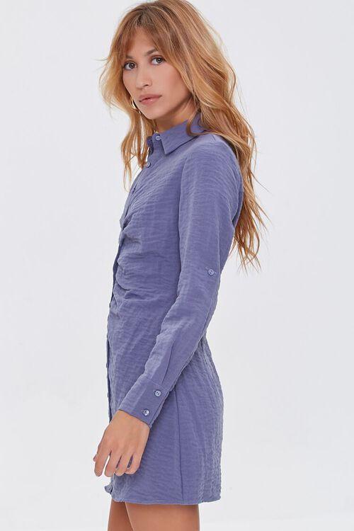 BLUE Ruched Mini Shirt Dress, image 2