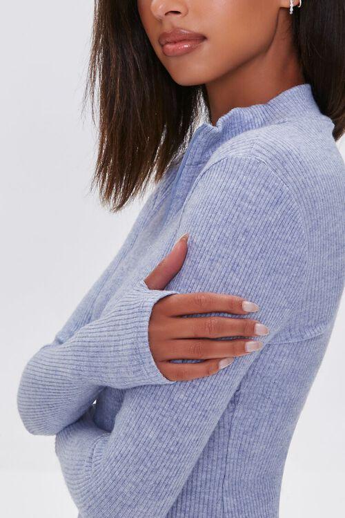 DUSTY BLUE Heathered Ribbed Knit Mini Dress, image 5