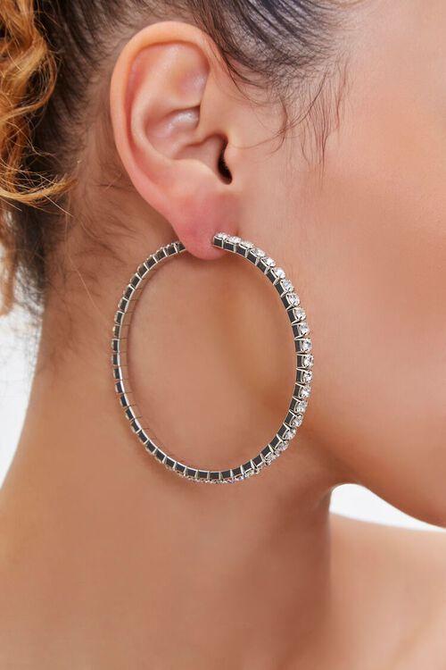 Rhinestone Box Hoop Earrings, image 1