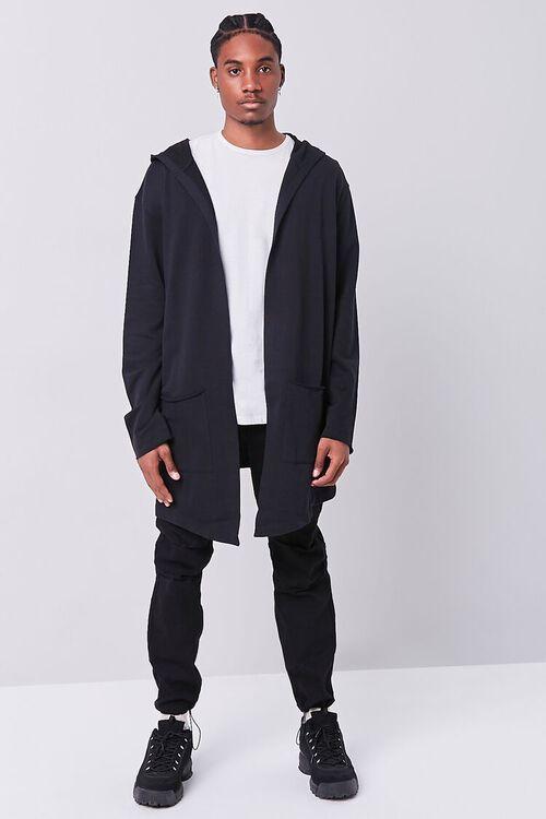 BLACK Longline Hooded Cardigan Sweater, image 4