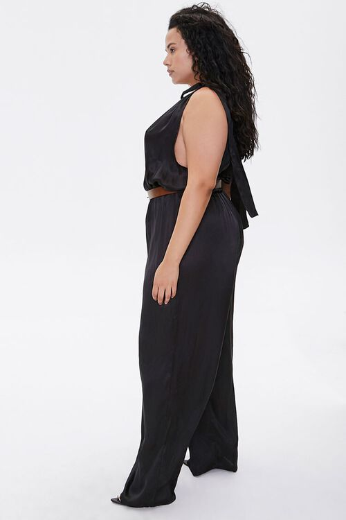 Plus Size Belted Satin Surplice Jumpsuit, image 2