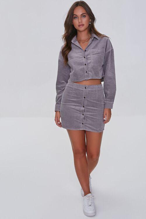 GREY Corduroy Shirt & Mini Skirt Set, image 4