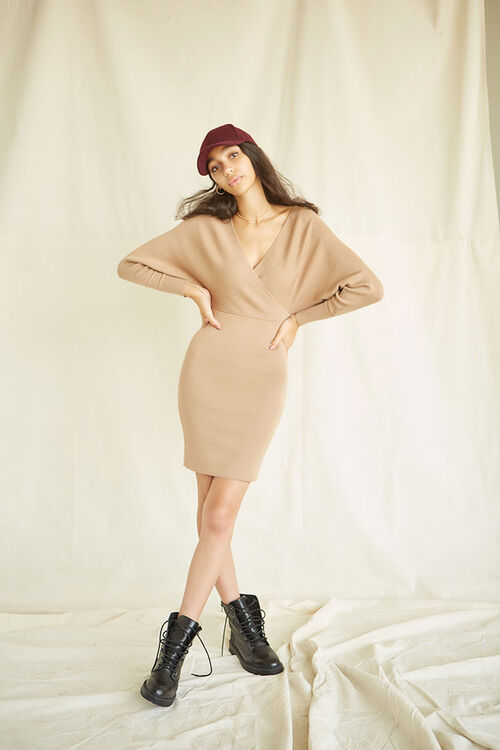 Surplice Mini Sweater Dress, image 1