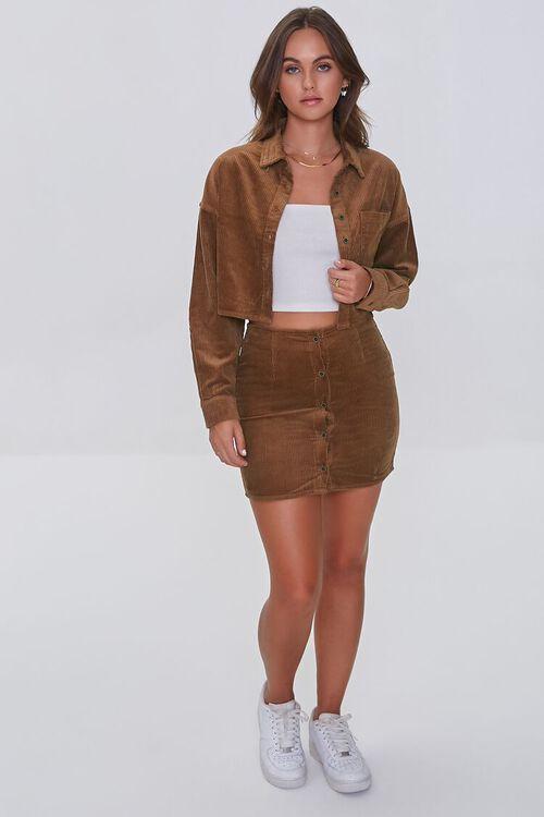BROWN Corduroy Shirt & Mini Skirt Set, image 4