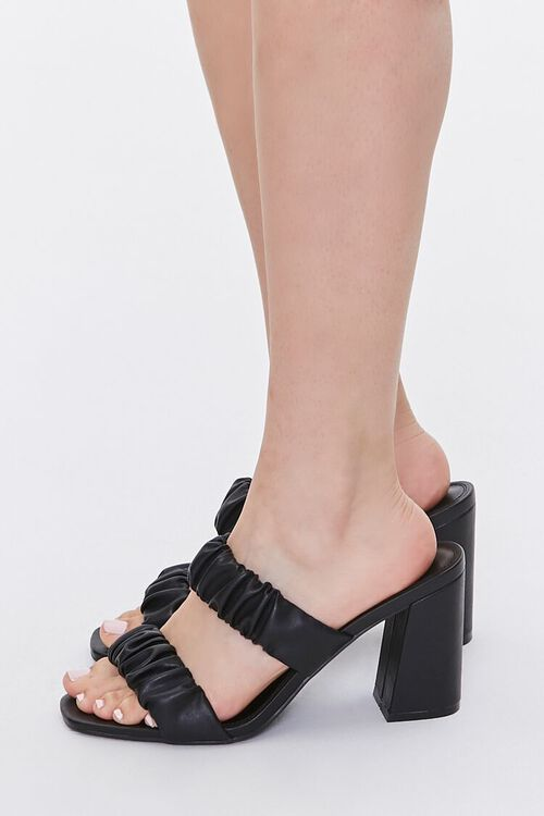 BLACK Ruched Block Heels, image 2
