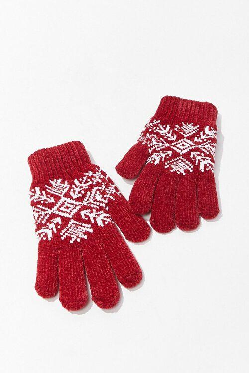RED Fair Isle Print Gloves, image 1