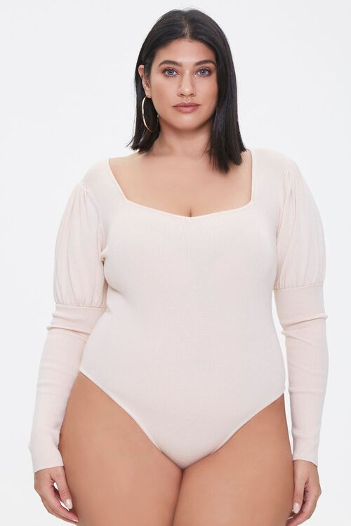 Plus Size Gigot-Sleeve Bodysuit, image 5