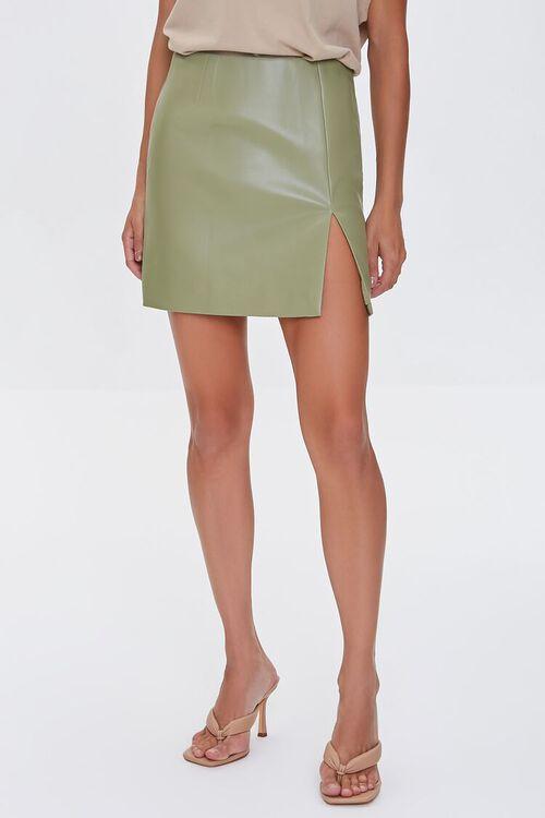 Faux Leather Mini Skirt, image 2