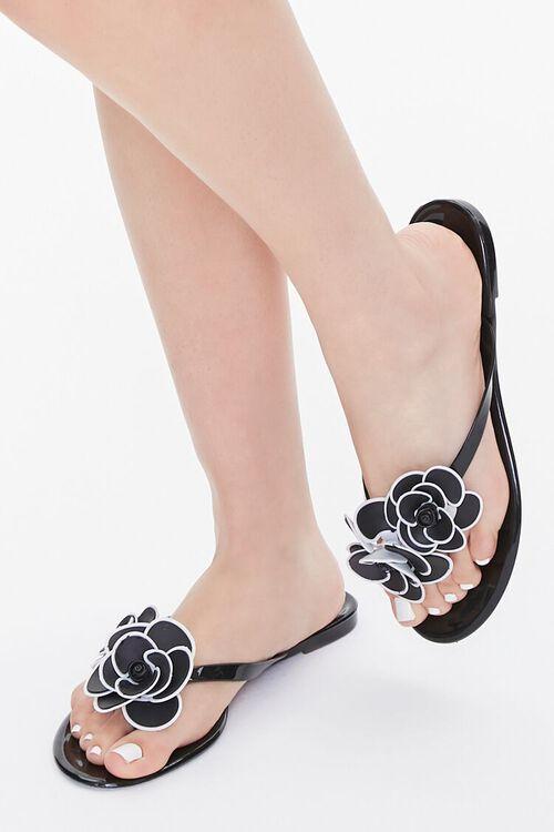Floral Applique Thong Sandals, image 1