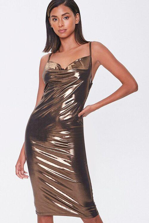 Metallic Cowl Neck Dress, image 1