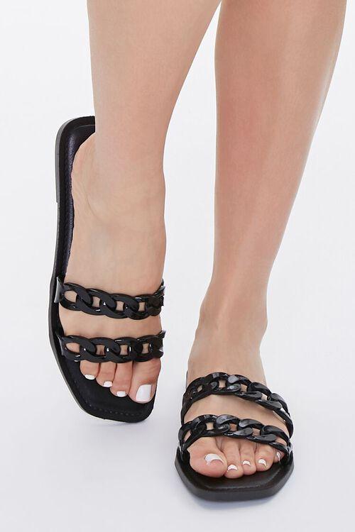 BLACK Chain-Strap Slip-On Sandals, image 4
