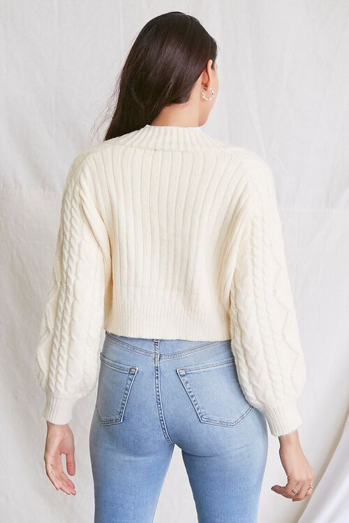 IVORY Cable Knit Cardigan Sweater, image 3