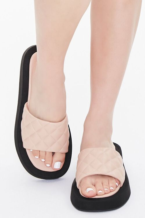 Quilted Slip-On Flatform Sandals, image 4