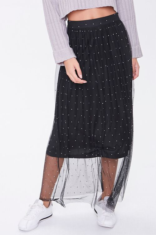 Faux Gem Mesh Midi Skirt, image 2