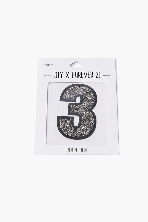 SILVER3 Iron-On Glitter Number Patch, image 2