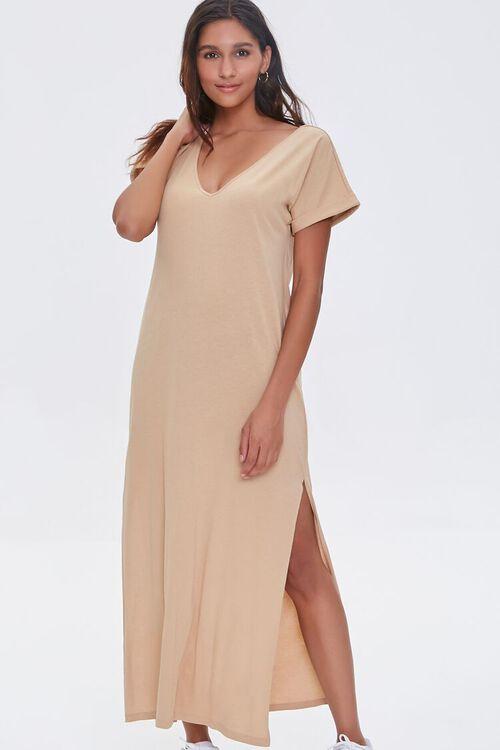 SAND Side-Slit Maxi Dress, image 1