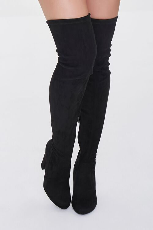 BLACK Faux Suede Over-the-Knee Boots, image 4