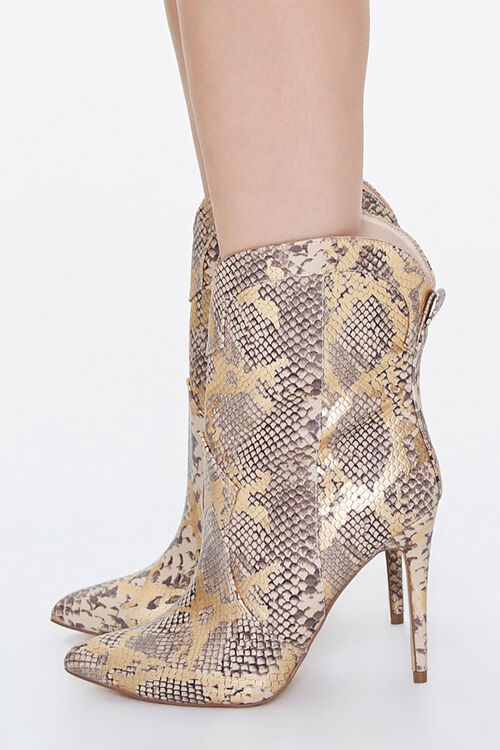 Metallic Faux Snakeskin Booties, image 2
