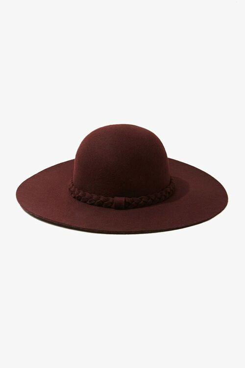 BURGUNDY Braided-Trim Floppy Hat, image 2