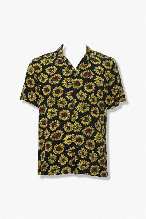 BLACK/YELLOW Sunflower Print Classic Fit Shirt, image 1