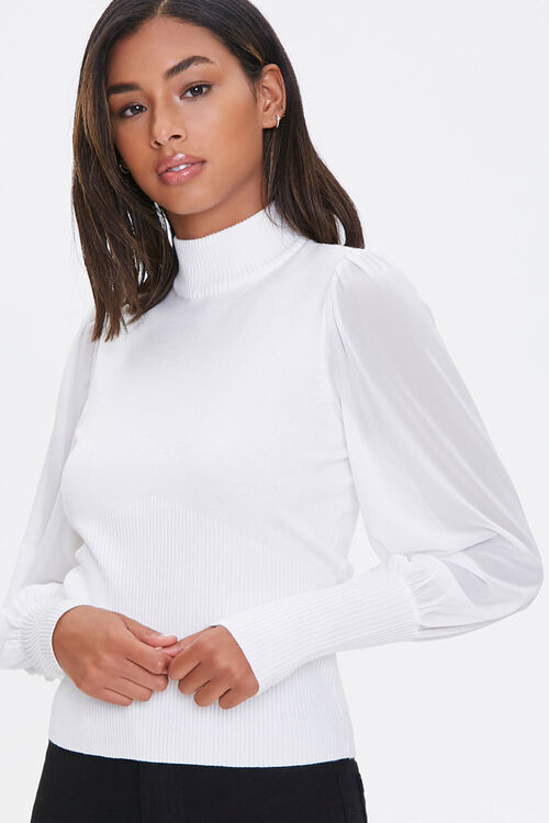 Sheer Sweater-Knit Top, image 1