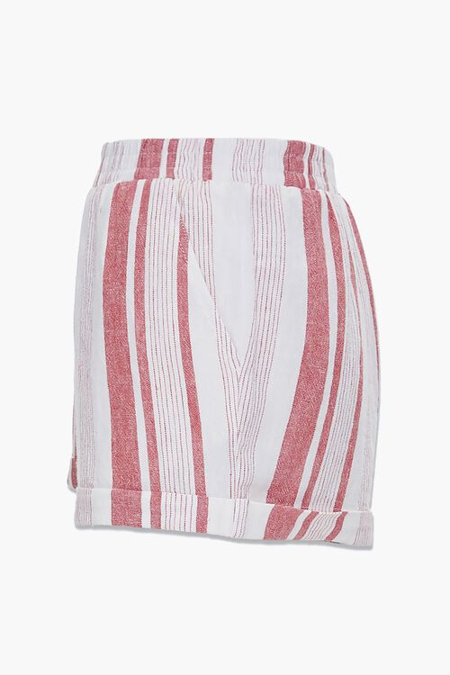 WHITE/RED Striped Linen-Blend Shorts, image 2