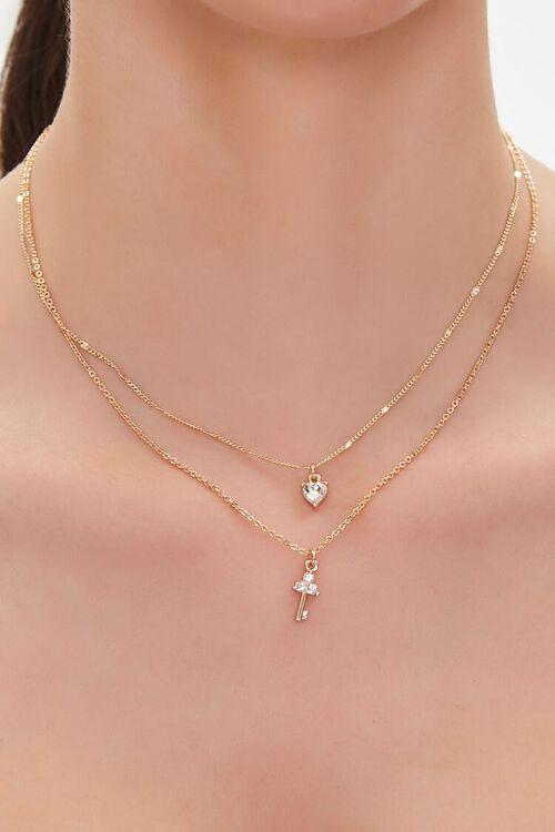 Faux Gem Heart & Key Charm Necklace, image 1