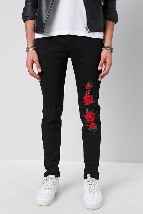 Rose Floral Print Slim-Fit Jeans, image 2
