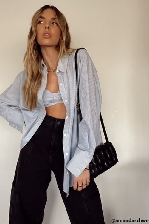 Pinstriped Bralette & Shirt Set, image 2