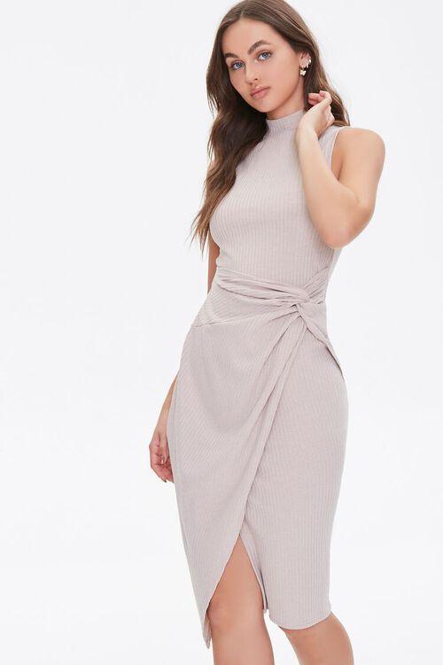 Ribbed Twisted Mock Neck Dress, image 1
