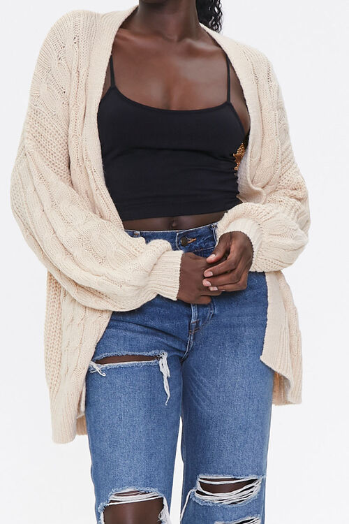 Cable Knit Open-Front Cardigan, image 1