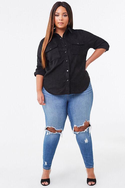 Plus Size Faux Suede Jacket, image 2