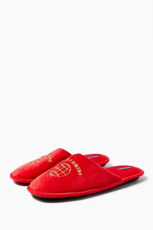 RED/ORANGE Men Worldwide Embroidered Graphic Slippers, image 2