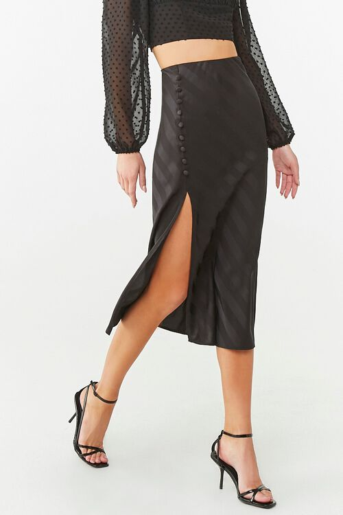 Striped Satin Midi Skirt, image 1