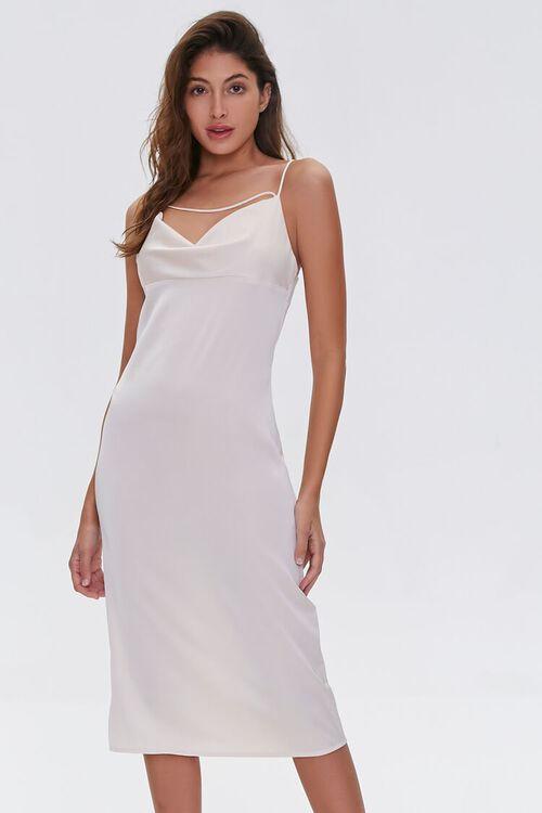 Satin Cowl-Neck Slip Dress, image 1