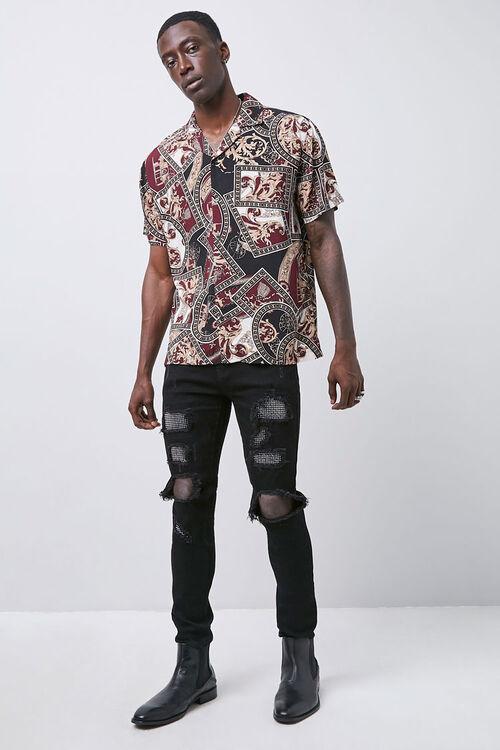 Rhinestone Distressed Slim-Fit Jeans, image 4