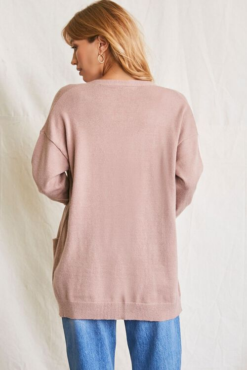 TAUPE Patch-Pocket Cardigan Sweater, image 3
