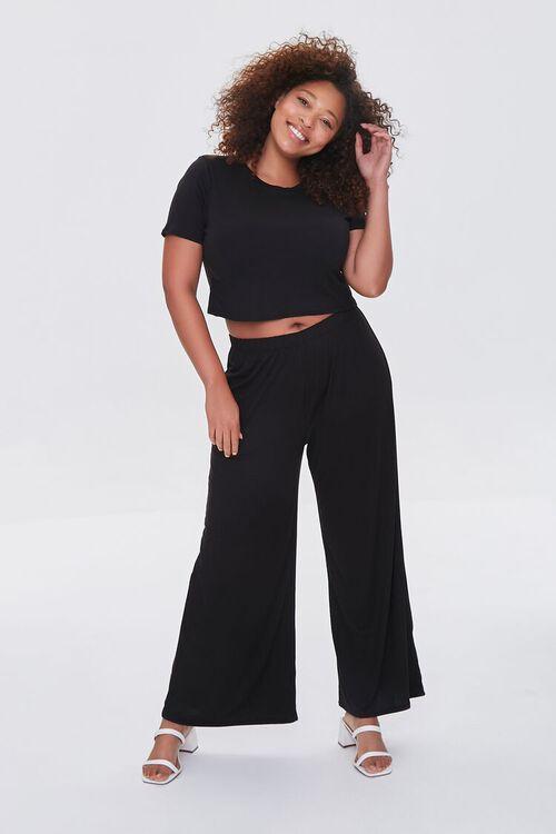 Plus Size Cropped Tee & Wide-Leg Pants Set, image 1