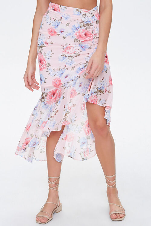 Floral Chiffon High-Low Skirt, image 2