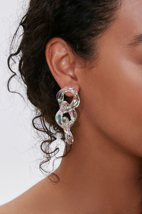 Iridescent Chain Drop Earrings, image 1