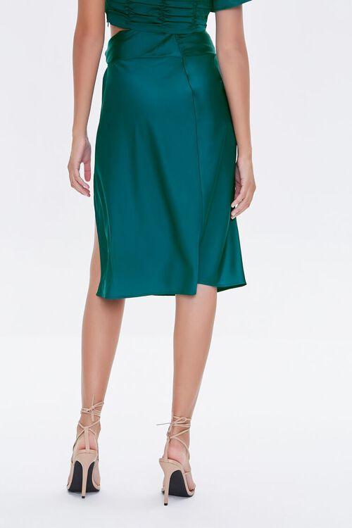 BLUE Gathered Satin Slit Skirt, image 4