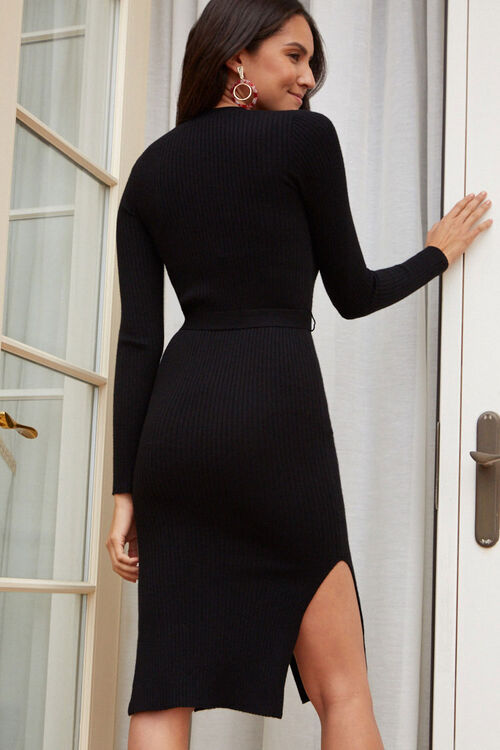 Ribbed Button-Down Sweater Dress, image 3