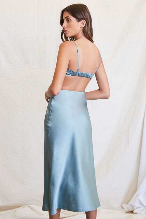 SEAFOAM Cutout Satin Midi Dress, image 3