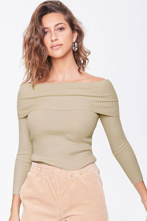 Ribbed Off-the-Shoulder Sweater, image 1